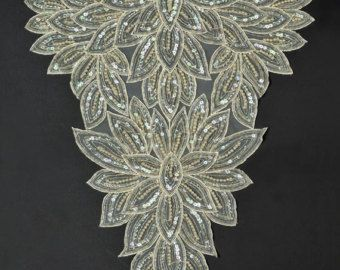 Rhinestone Beaded Applique Patch Measures Approx 6 3 X2f 8 X 2 Color Clear Rhinestones With Silver Glass Seed Beads Perfect For Boncuklu Nakis Nakis
