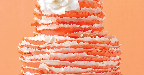 Nice White Ruffled and Orange Wedding Cakes