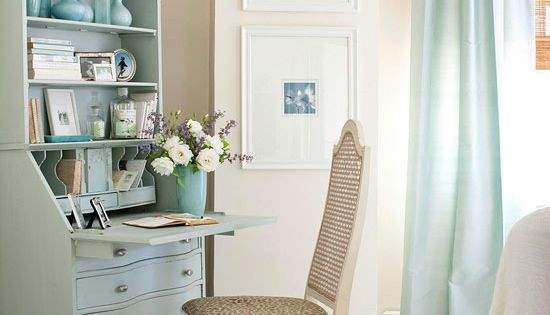 Corner Office comprising of a secretary desk painted to match decor of