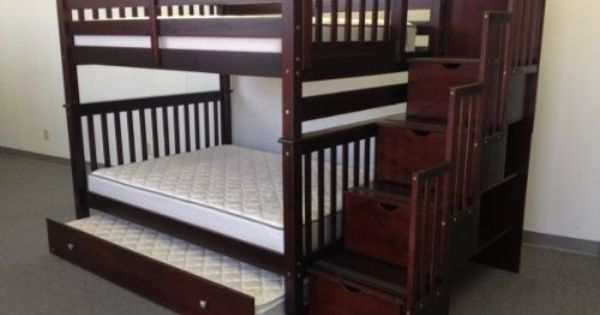 Amazon Com Stairway Bunk Bed Full Over Full In Cappuccino With 4