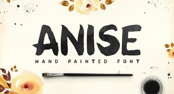 Anise – hand painted font and 4 watercolor textures