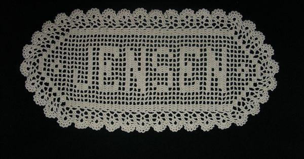 Abc Crochet Pattern Central : 5 Letter Filet Crochet Name Doily. crochet Pinterest ...