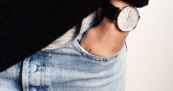 #denim details fashion jeans knitted style sweater watch watches coolstyle minimalstyle danielwellington