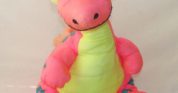 Stuffins Pink Dinosaur 1993 Vintage 16
