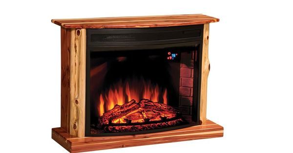 Amish Rustic Cedar Electric Fireplace Electric Fireplaces And Knotty Pine