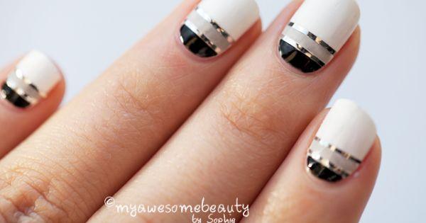 Blacks and whites Nail Art