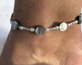 white anklet flower anklet gemstone howlite anklet bohemian anklet daisy anklet hippie anklet anklet for women beach bride anklet