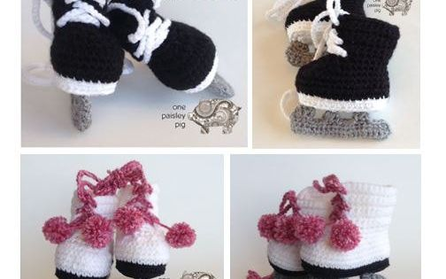 Free Crochet Pattern Baby Hat With Bow : Baby Ice Skates Crochet Pattern (Hockey & Figure Skates ...