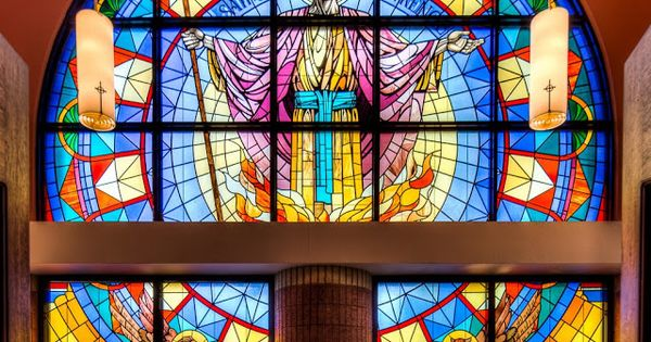 Stained Glass Window At St Lawrence Catholic Church In
