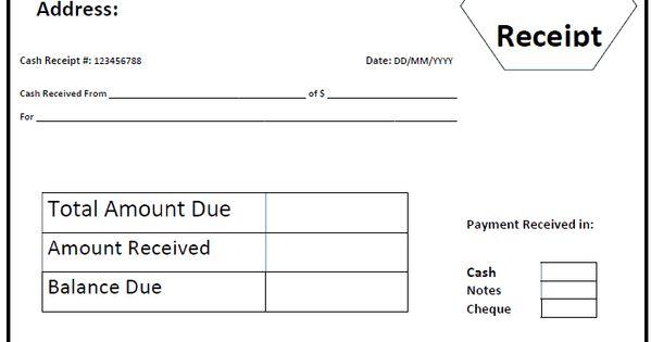 Cash Receipt Template BANGALOREPlaces to Visit Pinterest - cash received receipt