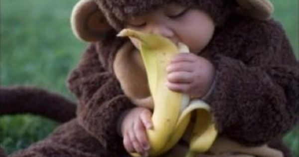 Baby monkey! Baby monkey! Eating a banana, baby monkey!