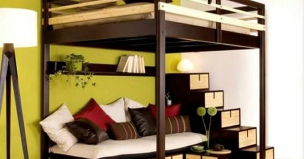 originelles hochbett f r erwachsene mit treppen hochbett pinterest hochbett f r erwachsene. Black Bedroom Furniture Sets. Home Design Ideas