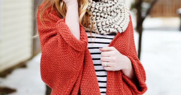 red chunky knit sweater, stripes, floppy hat, what a fun winter outfit