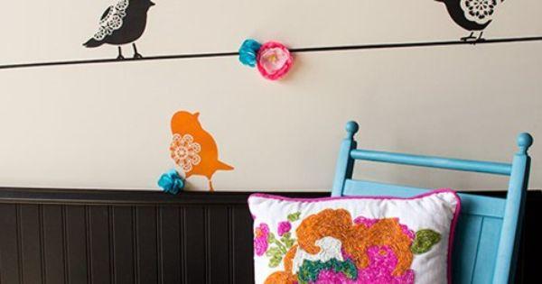 Plantillas para pintar paredes alegres con p jaros 1 - Tecnicas para pintar una habitacion ...
