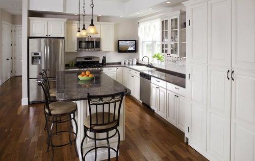 L shape kitchen layout ideas with kitchen island in the for Kitchens with islands in the middle