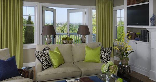 Vibrant Green And Gray Living Rooms Ideas | White Built Ins, Gray Wall  Paints And Green Curtains Part 94