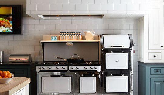 vintage magic chef range. subway tile. floors.