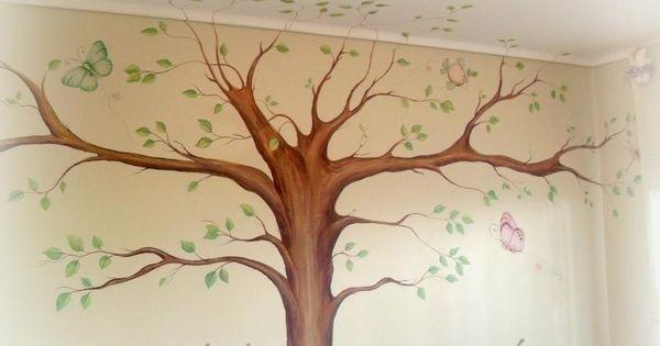 Rbol de la vida mural pintado en cuarto de ni o - Cuartos de ninos pintados ...
