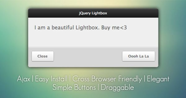 jQuery Lightbox Grooveshark Style . jQuery Lightbox – Grooveshark Style is a quick, simple, and easy plugin to use for all of your lightbox needs.