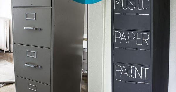 Classroom Ideas Chalkboard paint an old filing | http://besthomedesigndreamhouse.blogspot.com