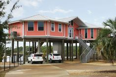 Hurricane Proof Home On Pilings Stilt House Home Front View Beach Style Exterior New Orleans B Beach House Design Beach House Plans House On Stilts