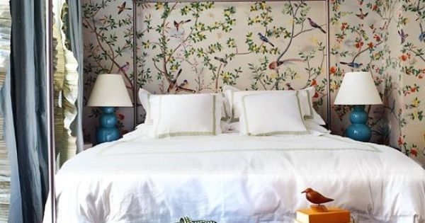 A less stuffy chinoiserie wallpaper, the bed frame, and the color of