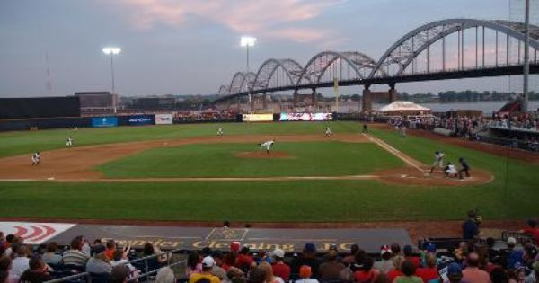 River Bandits Rule Modern Woodmen Park In Davenport Against A Backdrop Of Centennial Bridge Over The Mississippi Ballparks Iowa Travel Quad Cities