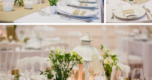 table lin et dentelle, lanterne centre de table, succulentes Déco et ...