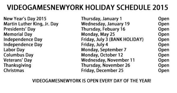 Yes We Are Open Tomorrow Here Is A Little Videogamesnewyork Holiday Hour Faq In Case You Wanted To Know Q With Images Holiday Hours Holiday Schedule Memorial Day