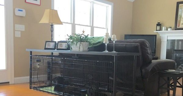 Double Dog Crate Console Table Ikea Linnmon Table And 2 Intermediate Precision Dog Crates Dogcrates Large Dog Crate Dog Crate Diy Dog Crate