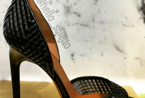 Givenchy Black Leather Mesh 125mm Heel