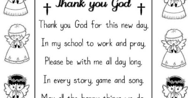 Thank You God Poem School Prayer Prayers For Children