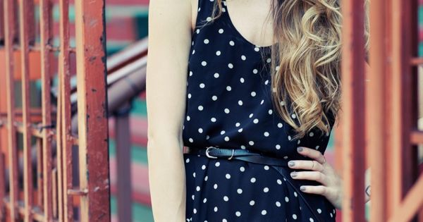 polka dot dress + ombre hair + red lips