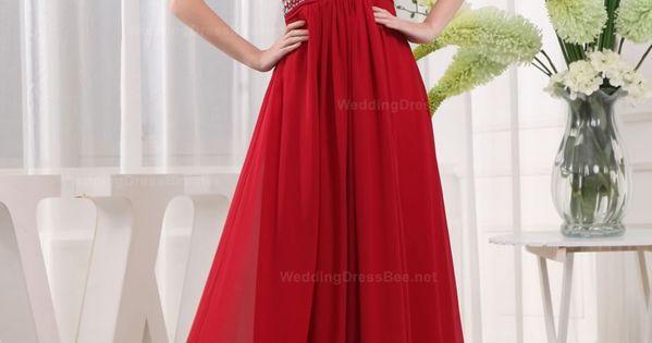 Long Red Chiffon Prom Dress, A-Line V-Neck Floor-Length Chiffon Dress, Chiffon A-Line