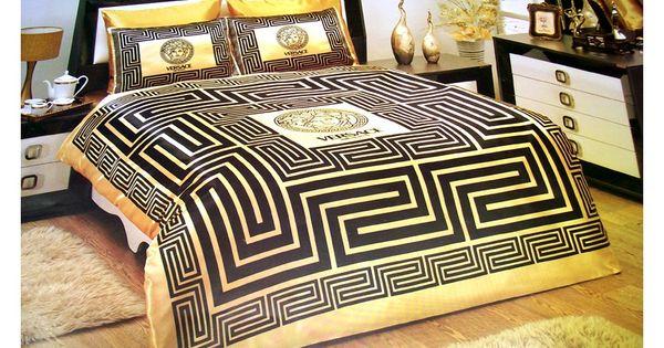 versace bedding set satin medusa duvet set black gold. Black Bedroom Furniture Sets. Home Design Ideas