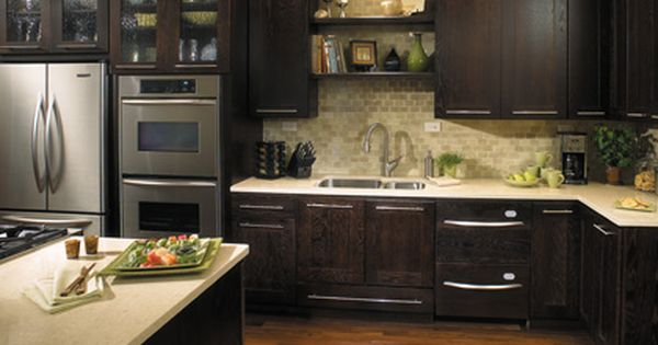 The Look Of The Dark Java Cabinets With Images Kitchen