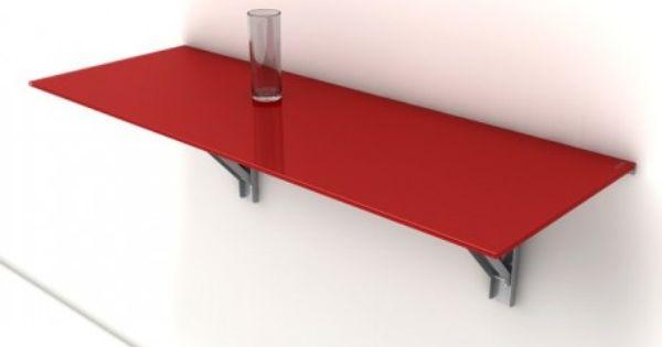 Table murale rabattable d 39 appoint en verre vulcano for Table retractable murale
