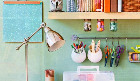 Love this desk area - an attractive way to organize stuff in