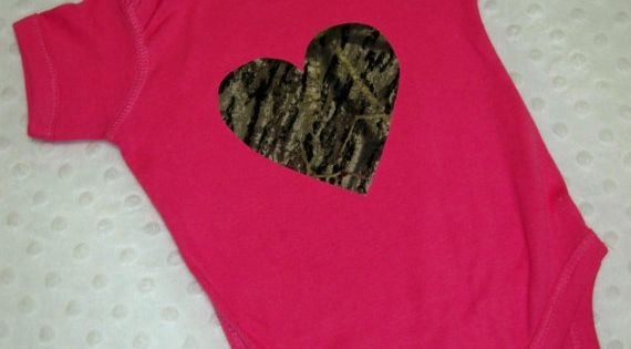 Pink and Camo Baby Girl Bodysuit - Perfect for Daddy's Little Hunter