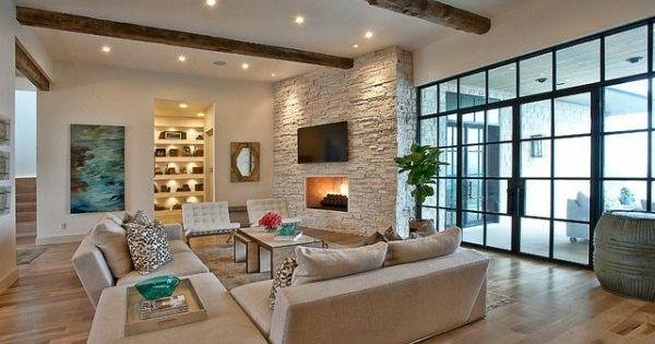 modernes Wohnzimmer Landhausstil rustikal Laminat Boden Home - beleuchtung wohnzimmer landhausstil