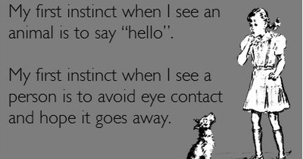 My first instinct when I see an animal is to say hello.