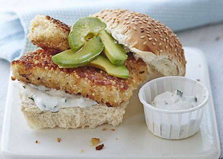 Crispy sesame fish burger with lime mayo recipe fish for Fish burger near me