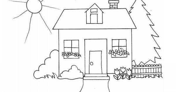 Huse Tegninger Til Farvelægning. Printbare Farvelægning