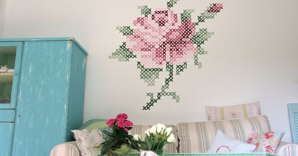 Rose cross stitch mural by shabby roses cottage bloger for Cross stitch wall mural