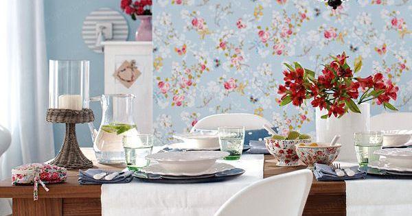 papier peint fleuri esprit campagne et liberty papiers peints salle manger pinterest. Black Bedroom Furniture Sets. Home Design Ideas