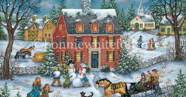 bonnie white folk art winter snow ice pinterest peinture naive cartes de no l et neige. Black Bedroom Furniture Sets. Home Design Ideas