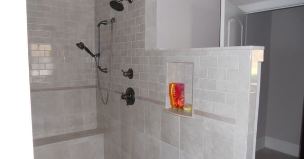 Another Angle Of Walk In Doorless Shower Bench At End And Shampoo Niche Bathrooms