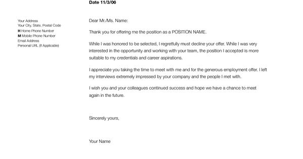 Sample Employment Rejection Letter To Let An Employer Know That You Are Not