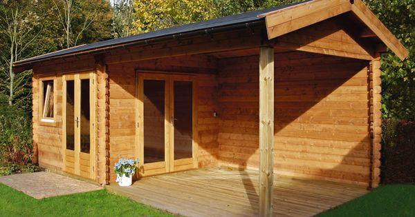Blokhut tuinhuis met zadeldak en grote overkapping model mallorca 320 x 320 cm 44 mm van - Deco tuinhuis ...