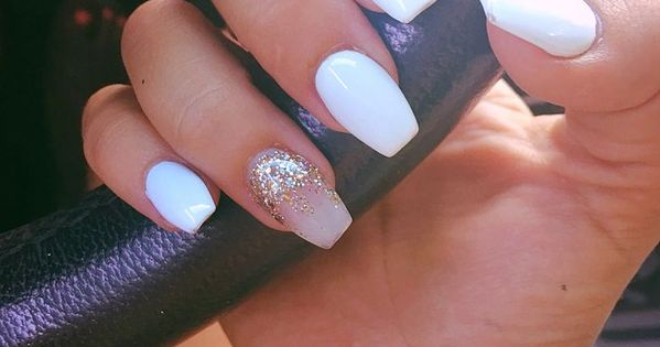 Coffin nail cute white and nude with gold accent sparkle ...